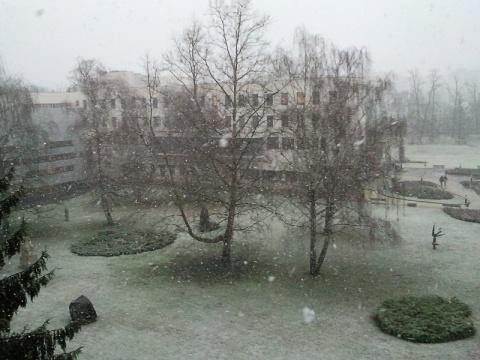 Kora délután kezdett el havazni. Délelőtt itt még esőzés volt.